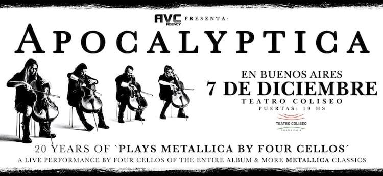 Apocalyptica en Argentina 2017: Precios y entradas en venta