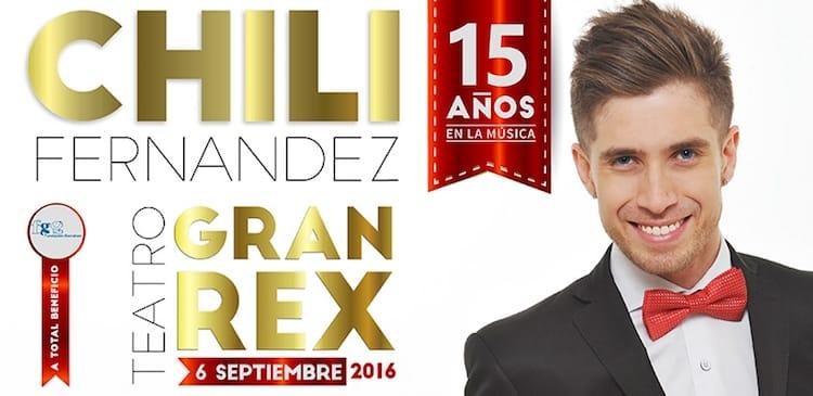 Chili Fernandez en el Gran Rex 2016: Precios y entradas en venta
