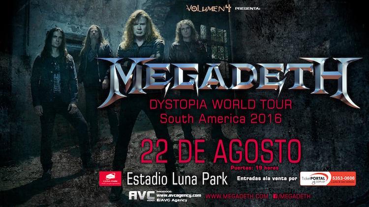 Megadeth en Argentina 2016: Precios y entradas en venta