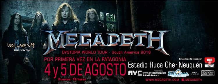 Megadeth en Neuquen 2016: Precios y entradas en venta