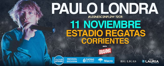 Paulo Londra en Corrientes 2018 (Regatas): Precios y entradas en venta
