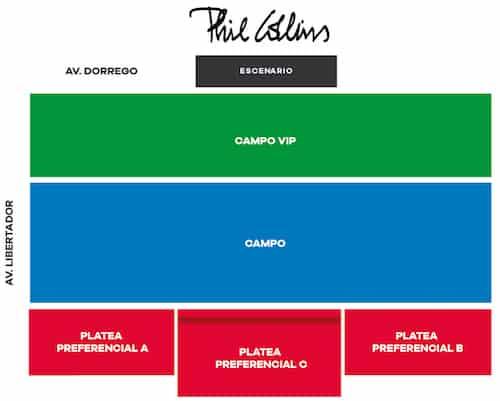 Phil Collins en Argentina 2018: Mapa de entradas