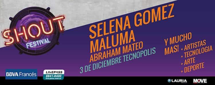 Shout Festival 2016 en Tecnópolis: Selena Gomez, Maluma y más