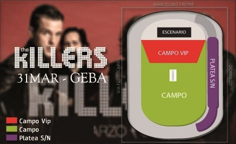 The Killers en Argentina 2013: Mapa de entradas